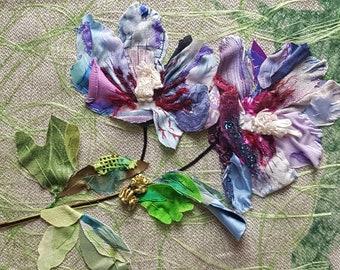 Hibiscus Blue, Flower Picture, Floral Art, Textile Collage, Handsewn, Fabric Collage,  Original Art, Unique Gift, Art Gift