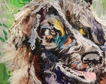Leonberger, Dog Picture, Fabric Collage, Original Art, Pet Picture, Textile collage, Handsewn, Art gift, Picture, Stitched Art, Gift, Unique