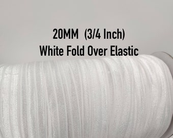 """Up to 100 yards White Solid FOE Fold Over Elastic - 3/4"""" 20MM wide- great for crafts, embellishments, accent hair ties, wedding decorations"""