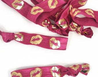 LipSense FOE Hair Ties Headbands Pink Lips-Fold Over Elastic Gifts-By the yard 1 yard