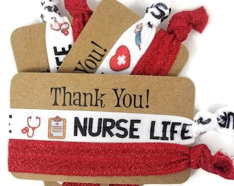 Nurse Hair, Don't Care Thank You Card w/2 ties - Hairties /Bracelets/ Wrist Bands- Great for graduate, nurse friend, coworker, secret santa
