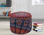 Mandala Cushion Cover Indian Handmade Cotton Ottomans Pillow Cover Bohemian Peacock Bean Bags Decor Floor Pillow