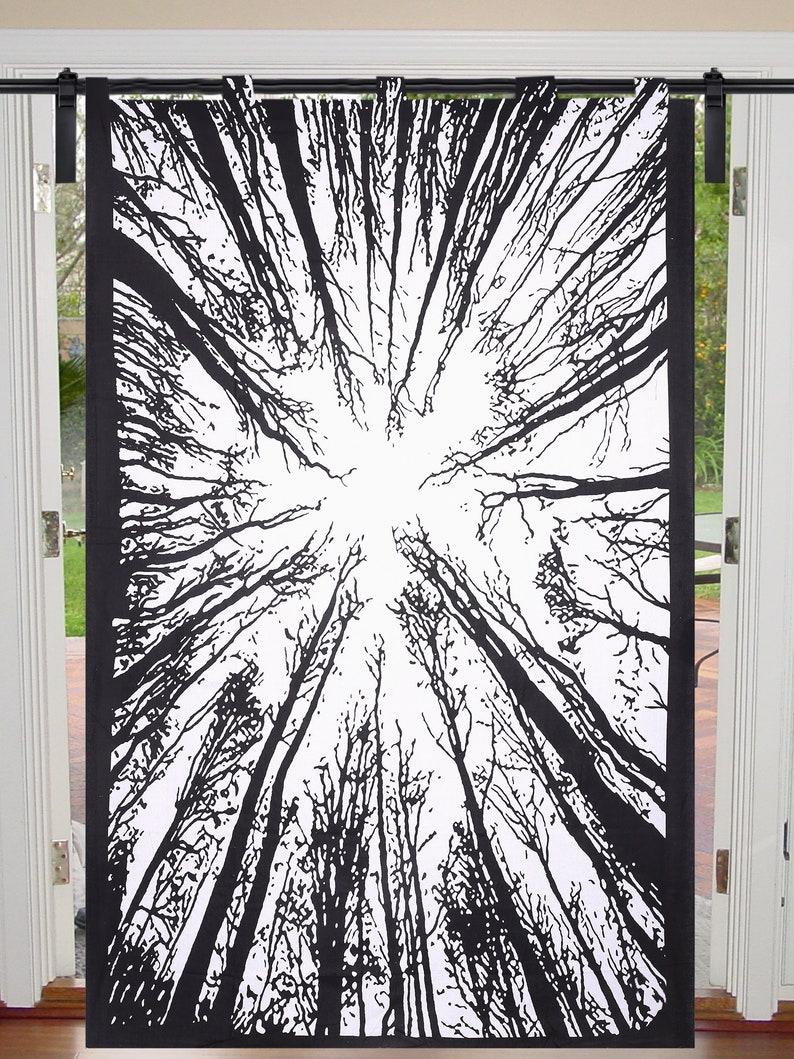 Black /& White Indian Locust Tree Wall Hangings Mandala Curtains Hippie Twin Single Wall Decor Bedspread Handmade Reversible Valances