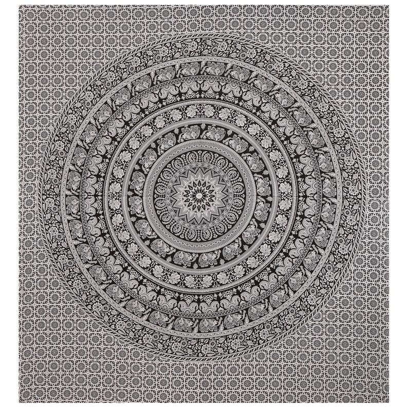 Meditation Design Psychedelic Round Living Kids Girls Room  Mandala 41 X 82 Inch Hippie Window Curtain Valances Room Divider 2 Pc Panel Set