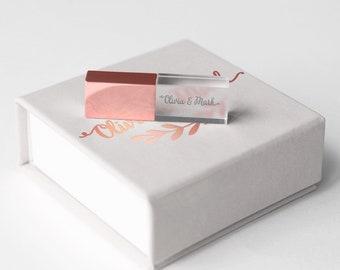 Rose Gold Flash Drive Box Custom USB Case Wedding Crystal USB Stick Personalized Box Packaging