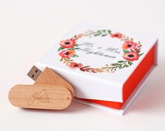 Flash Drive Box Custom USB Case Wedding Wooden USB Stick Personalized Box Packaging For Photographer Gift