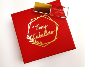 Crystal USB Flash Drive Wedding Box  Glass USB Stick In Faux Lather Box USB Box Gold