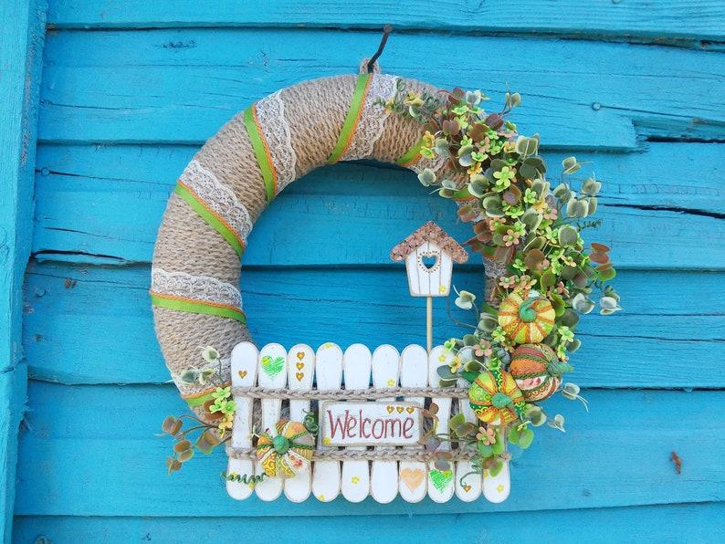Pumpkins wreath Birdhouse wreath Country style Gift for housewarming Door decor Welcome door wreath Rustic decor Wreath for the front door