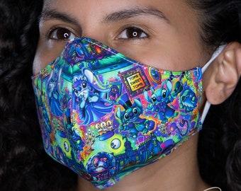 626 Happy Haunts - Disney Haunted Mansion Stitch Custom Fabric - Reusable/Reversible Face Mask