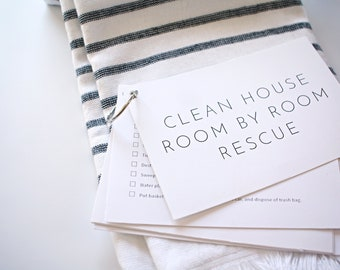 Cleaning Checklist Cards: Clean House Room by Room - Printable Home Cleaning Checklists   Daily Cleaning   Weekly Cleaning PDF