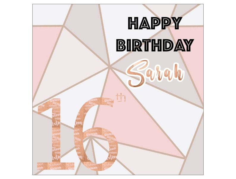 Personalised Birthday Card Rose Gold Aztec Unique Gift For