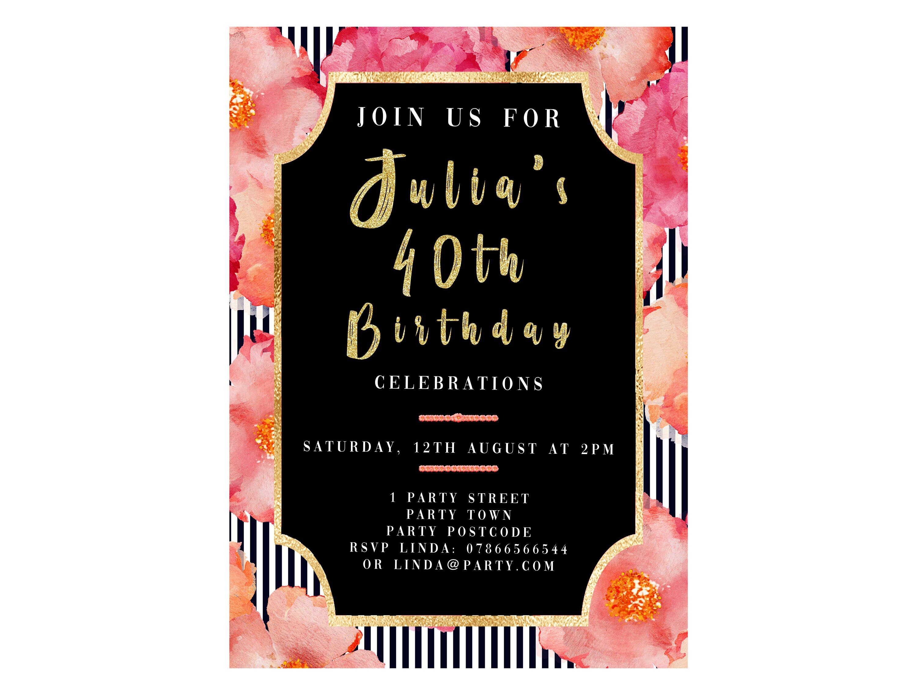 Personalised 40th Birthday Invitation Flowers Black And Gold
