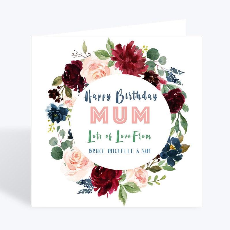 Mum Birthday Card, Personalised, Names, Floral, Unique, Birthday Card,  Rose, Card for Mum, Mum Card, Personalised Mum Card, Happy Birthday