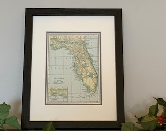 Framed Florida Map Etsy