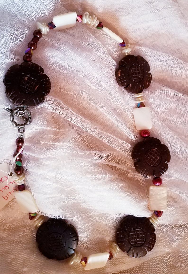 Handcrafted Carved Cocoa Bean Flowers and Mother of Pearl Beaded Choker