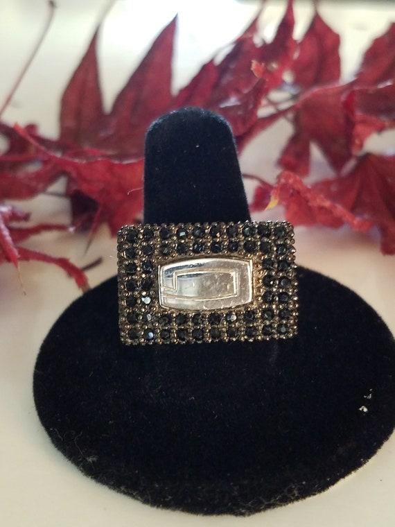 Vintage GUESS negro espinela plata esterlina cigarros anillo tamaño 8 y s 20 gramos