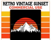 Mountain Trees Retro Sunset PNG Vintage Cutout Digital Instant Download Commercial Use 300 DPI Transparent Clipart