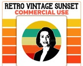 Nancy Pelosi Retro Sunset Circle PNG Speaker of the House of Representatives Commercial Use Clipart House Speaker Democrat California