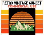 Retro Mountain Sunset Logo Evergreen Trees PNG Vintage Distressed Orange Green Tan Commercial Use Transparent 4500 x 5400 Graphics Clipart