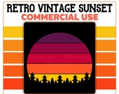 Retro Vintage Sunset Clipart Trees PNG Sunrise Background Forest Purple Red Orange Yellow Digital Instant Download 300 DPI Transparent