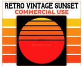 Retro Vintage Sunset PNG Clip Art Sun Red to Yellow Color Palette Instant Download Template Commercial License Graphic