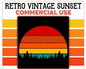 Retro Vintage Sunset Forest Trees PNG Commercial Use 300 DPI Transparent Clipart Red Orange Yellow Blue