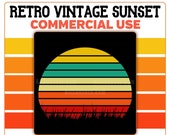 Grass Retro Sunset PNG Vintage Instant Digital Download Commercial Use 300 DPI Transparent Clipart Yellow Teal Tan Orange