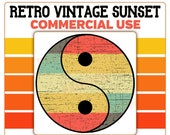 Retro Vintage Yin Yang Sunset Grunge Distressed PNG 300 DPI Transparent Commercial Use Print on Demand Clipart POD Product Usage License