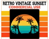 Retro Vintage Sunset PNG Beach Palm Trees Orange Yellow Blue Instant Digital Download Commercial Use 300 DPI Transparent Clipart