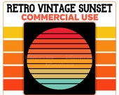 Retro Sunset Circle PNG Basic Shapes Commercial Use Clipart
