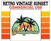 California Beach Retro Sunset PNG Smiley Face Sunshine Summer Vacation Commercial Use Print on Demand Clipart