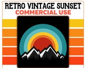 Retro Sunset Mountain Trees Snow Capped PNG Clip Art Template Commercial License Graphic