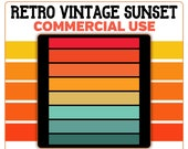 Retro Vintage Sunset Rectangle Horizontal PNG Clip Art Template Commercial License Graphic