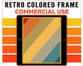 Retro Colored Diagonal Stripes Frame PNG Clip Art Commercial License for Print on Demand Graphic