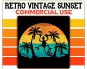 Retro Vintage Sunset Lizard PNG Palm Trees Beach Orange Yellow Blue Instant Digital Download Commercial Use Transparent Graphics Clipart