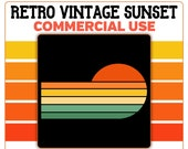 Retro Vintage Sunset Horizontal PNG Clip Art Yellow Orange Green Tan Colors Template Commercial License Graphic