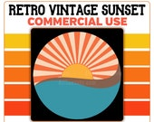 Retro Vintage Sunset Clipart PNG Ocean Waves Sun Rays Orange Tan Blue Yellow Instant Download Template Commercial License Graphic