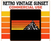 Retro Vintage Sunset Mountain Horizontal PNG Clip Art Yellow Orange Red Colors Template Commercial License Graphic
