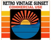Retro Vintage Sunset Clipart PNG Blue Ocean Waves Yellow Sun Orange Rays Instant Download Template Commercial License Graphic