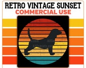Beagle Dog Retro Vintage Sunset PNG Clip Art Commercial License Print on Demand Graphic