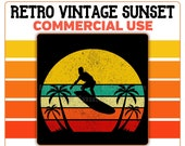 Beach Retro Vintage Sunset PNG Surfer Palm Trees Orange Yellow Blue Tan Surf Surfing Commercial Use Transparent Graphics Clipart