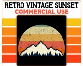 Mountain Trees Retro Sunset PNG Vintage Instant Digital Download Commercial Use 300 DPI Transparent 4500 x 5400 Clipart