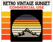 Mountain Retro Vintage Sunset PNG Cutout Digital Instant Download Commercial Use 300 DPI Transparent Clipart Blue Orange Yellow Grey