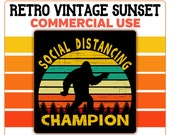 Bigfoot Social Distancing Champion Sunset PNG Sasquatch Yeti Retro Vintage Sunset Commercial Use Clip Art