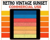 Retro Vintage Sunset Multi Color Rectangle Horizontal PNG Clip Art Template Commercial License Graphic