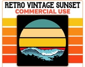 Retro Vintage Round Sunset Ocean Waves Horizontal PNG Clip Art 4 Color Palette Template Commercial License Graphic
