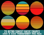 25 Retro Sunsets Basic Shapes Clip Art PNG Circle Rectangle Various Commercial License Print On Demand
