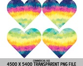 Tie Dye Rainbow Hearts Clip Art 4 Pack PNG Love Designs Valentines Background Relationships Elements Commercial Use Transparent Graphics