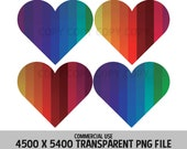 Rainbow Hearts 4 Pack PNG Design Files Background Elements Love Valentines Relationships Design Commercial Use Transparent Graphics Clipart