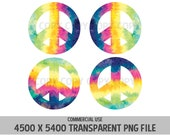 Peace Symbol Tie Dye Peace Sign Rainbow 4 Pack PNG 70's Elements Hippies Watercolor Love Commercial Use Transparent Graphics Clipart